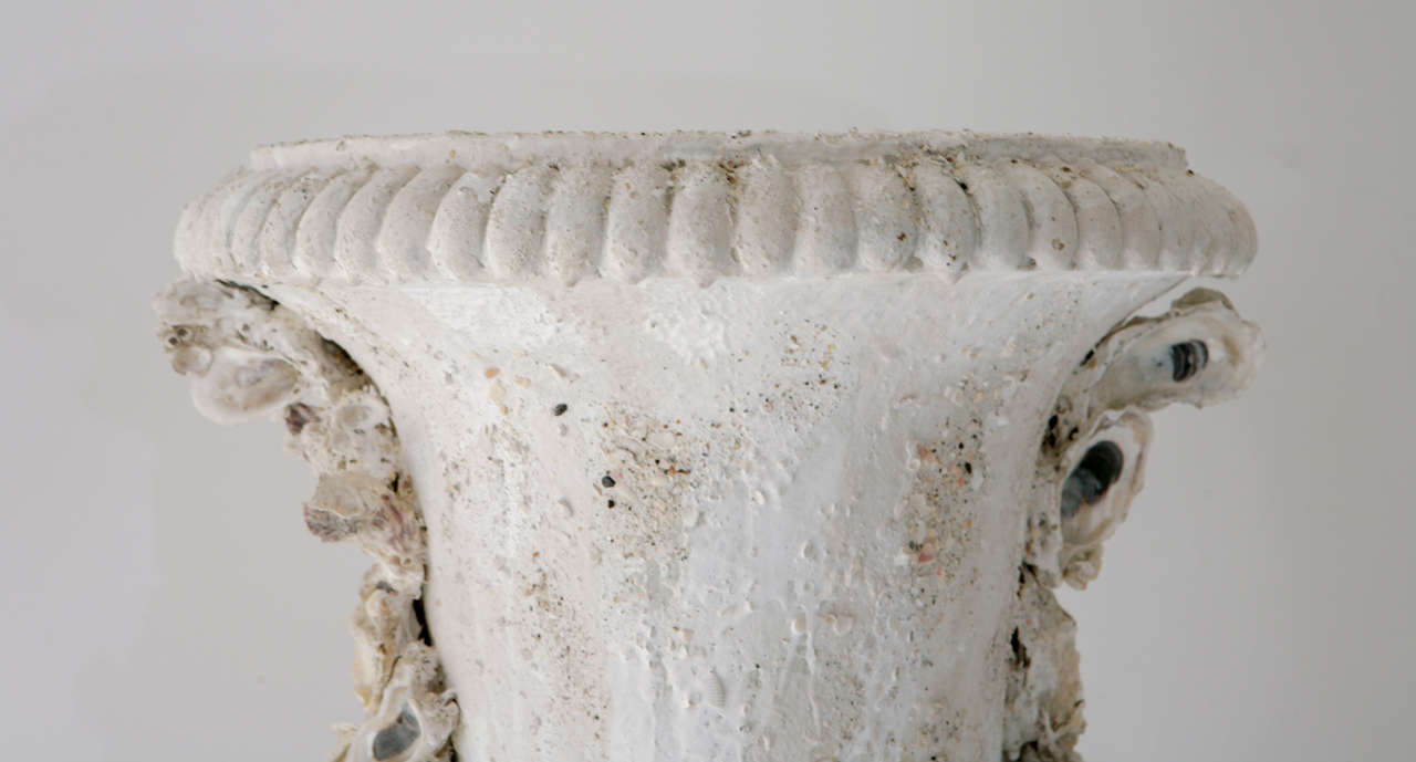 Grotto Style Shell Encrusted Urns on Pedestals 4