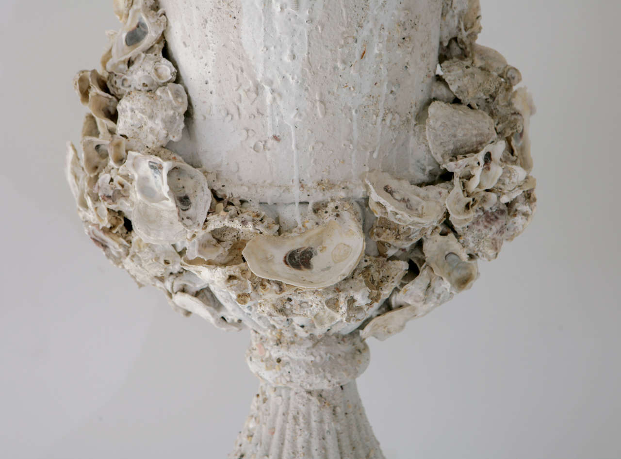 Grotto Style Shell Encrusted Urns on Pedestals 5