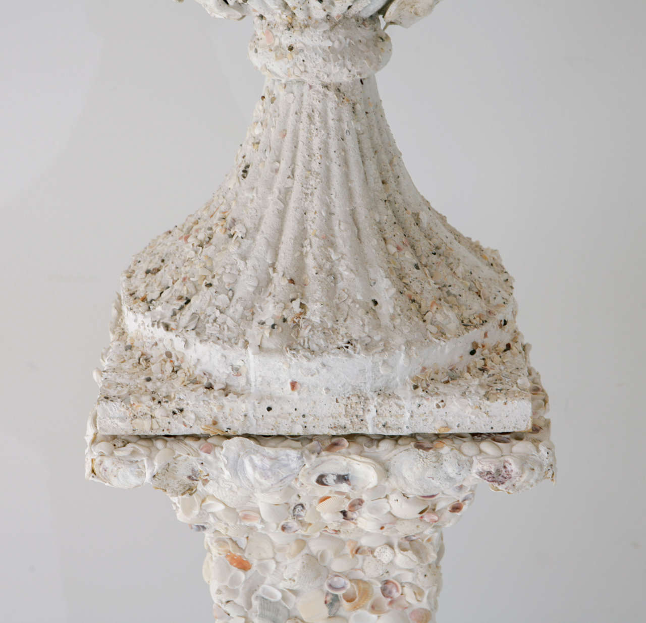 Grotto Style Shell Encrusted Urns on Pedestals 6