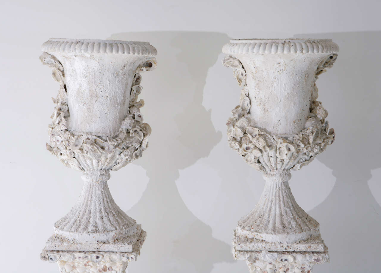 Grotto Style Shell Encrusted Urns on Pedestals 10