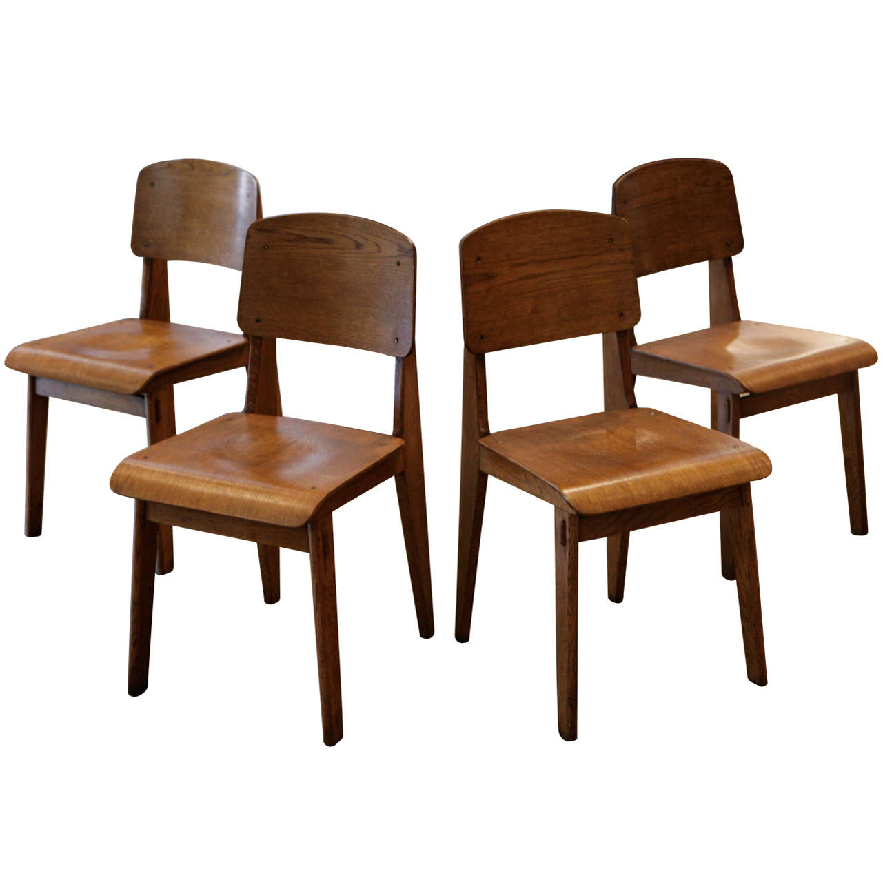 Jean prouve set of 4 39 chaise tout en bois 39 chairs ca for Chaise bois solde
