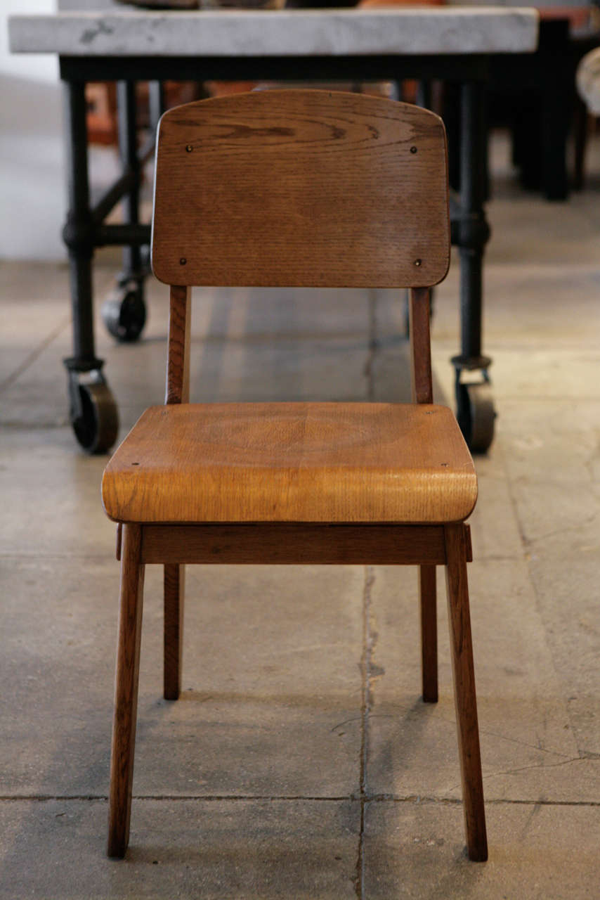 Jean prouve set of 4 39 chaise tout en bois 39 chairs ca for Chaise jean prouve