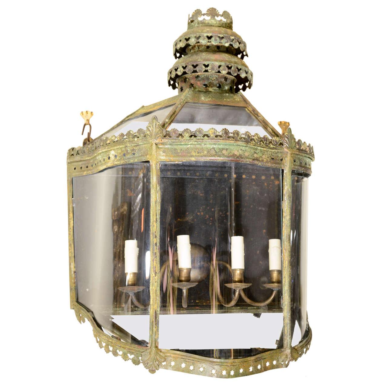Unusual English Copper Wall Lantern
