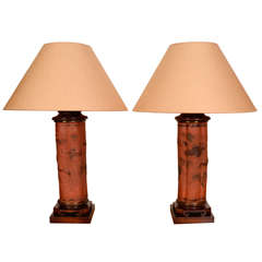 Pair of Japanese Meiji Tokoname Ceramic Lamps