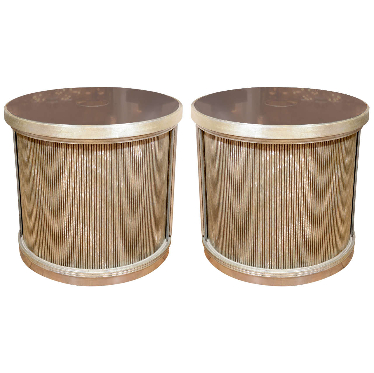 Pair Of Drum Form Side Tables With Sliding Door And Faux Finish Details For Sale