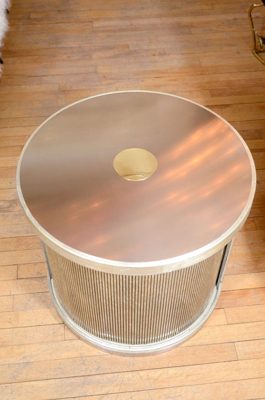 Pair Of Drum Form Side Tables With Sliding Door And Faux Finish Details image 4