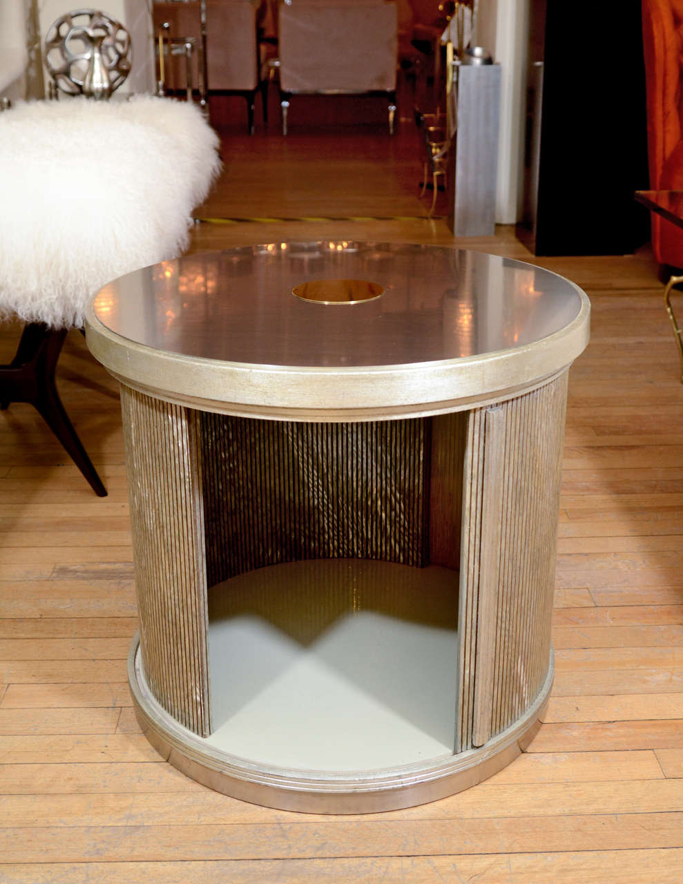 Late 20th Century Pair Of Drum Form Side Tables With Sliding Door And Faux Finish Details For Sale