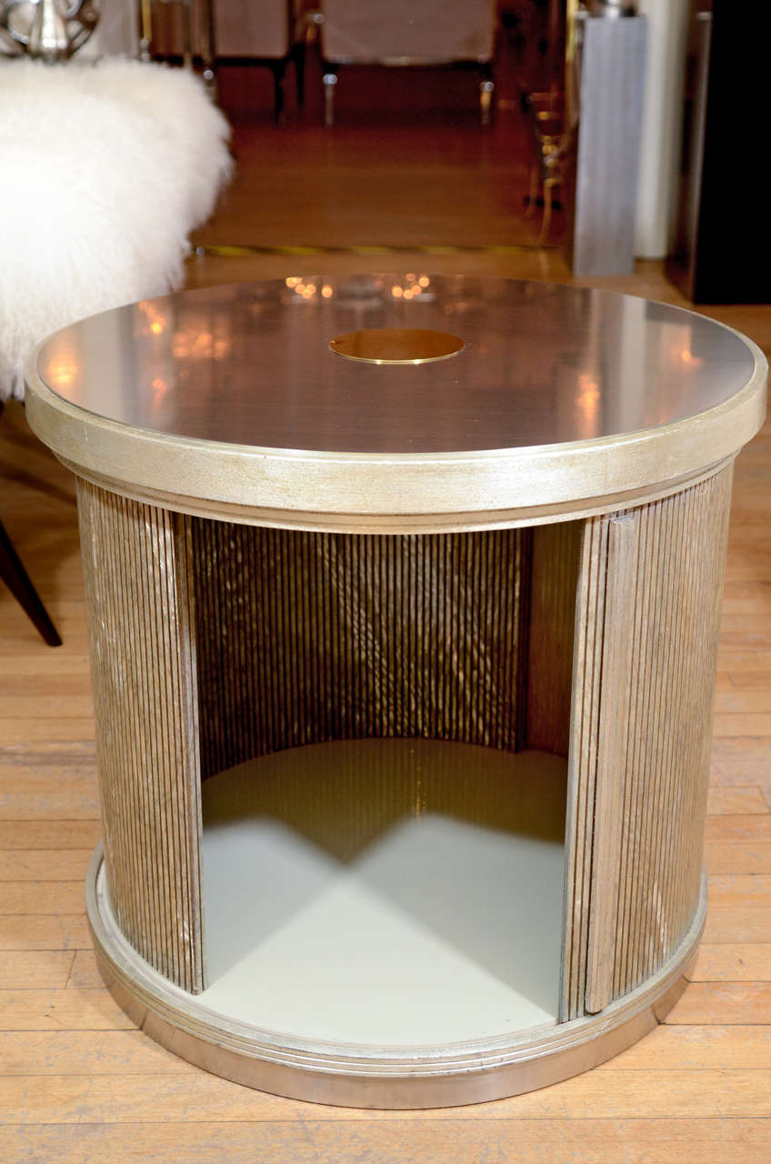 Brass Pair Of Drum Form Side Tables With Sliding Door And Faux Finish Details For Sale