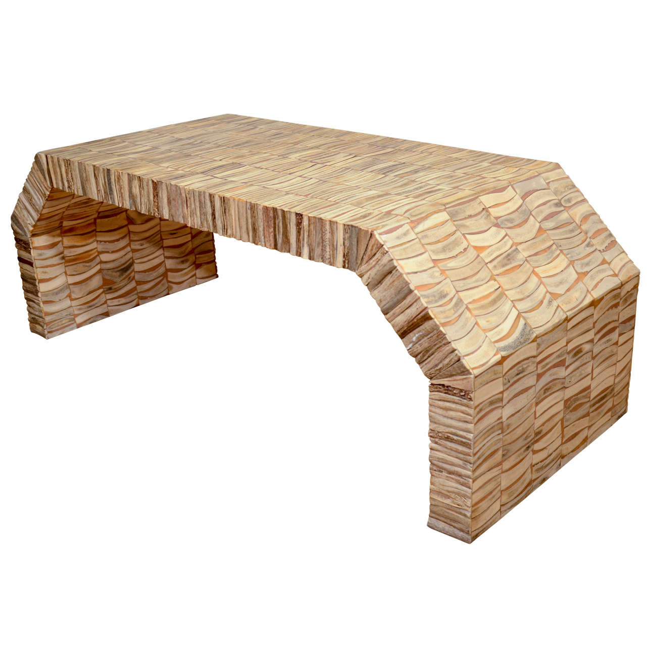 Inlaid bone veneer angled waterfall coffee table for sale