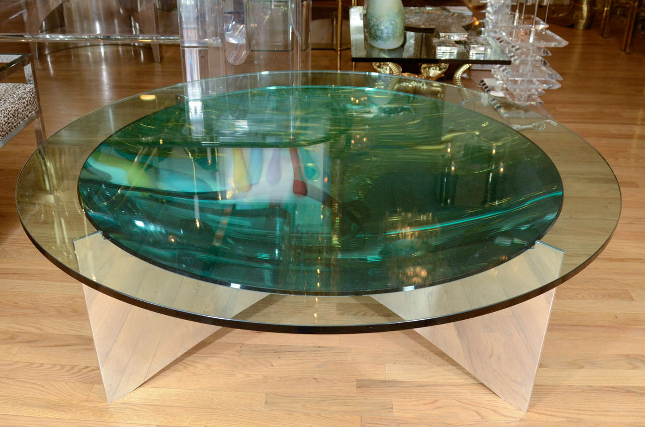 Unusual Concave Green Mercury Glass Coffee Table 2