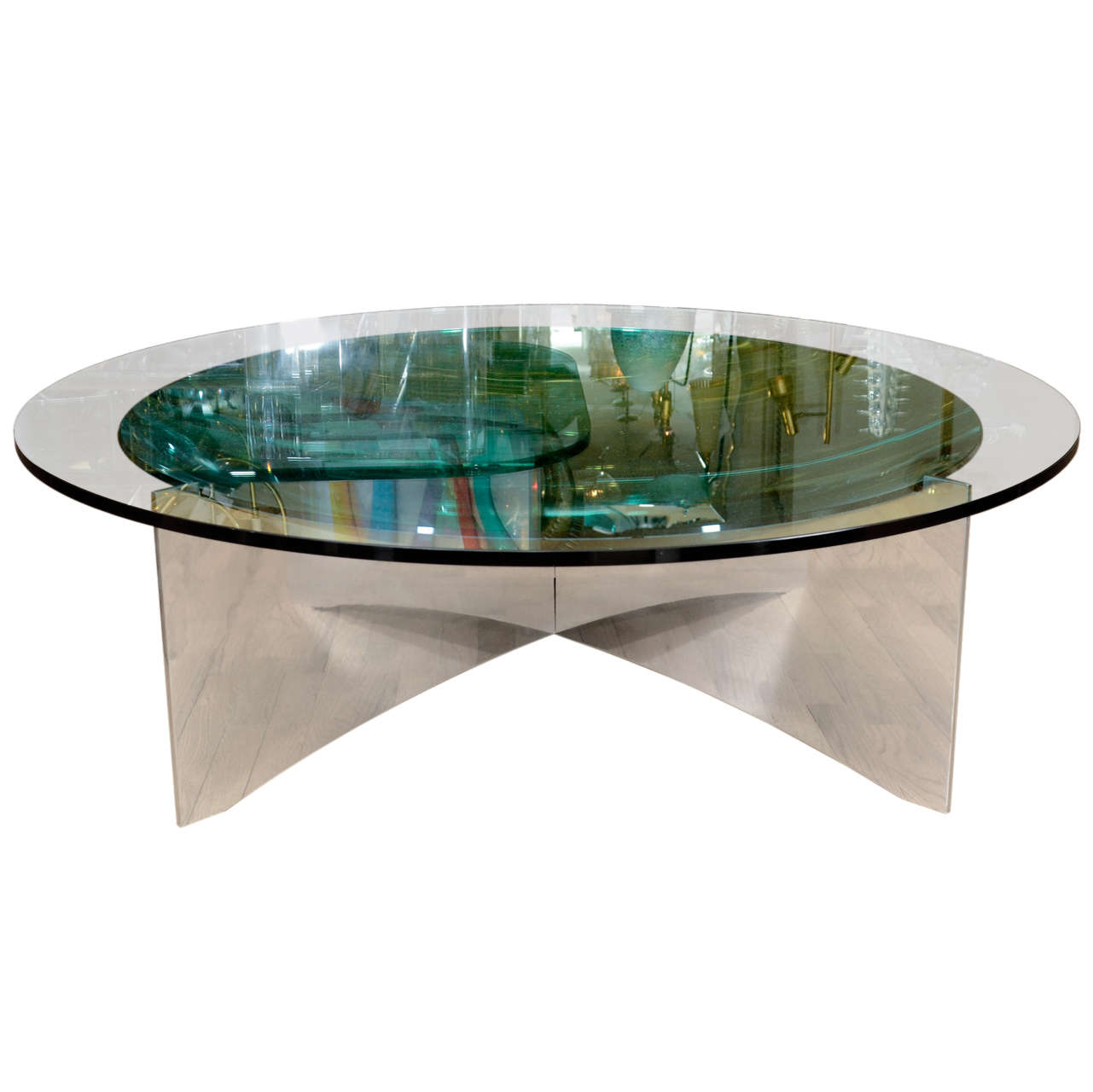Unusual Concave Green Mercury Glass Coffee Table 1