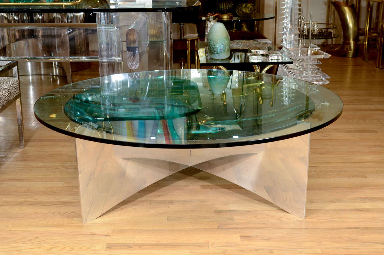 Unusual Concave Green Mercury Glass Coffee Table 3