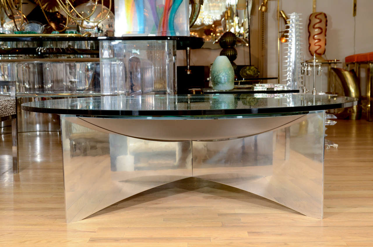 Unusual Concave Green Mercury Glass Coffee Table 4