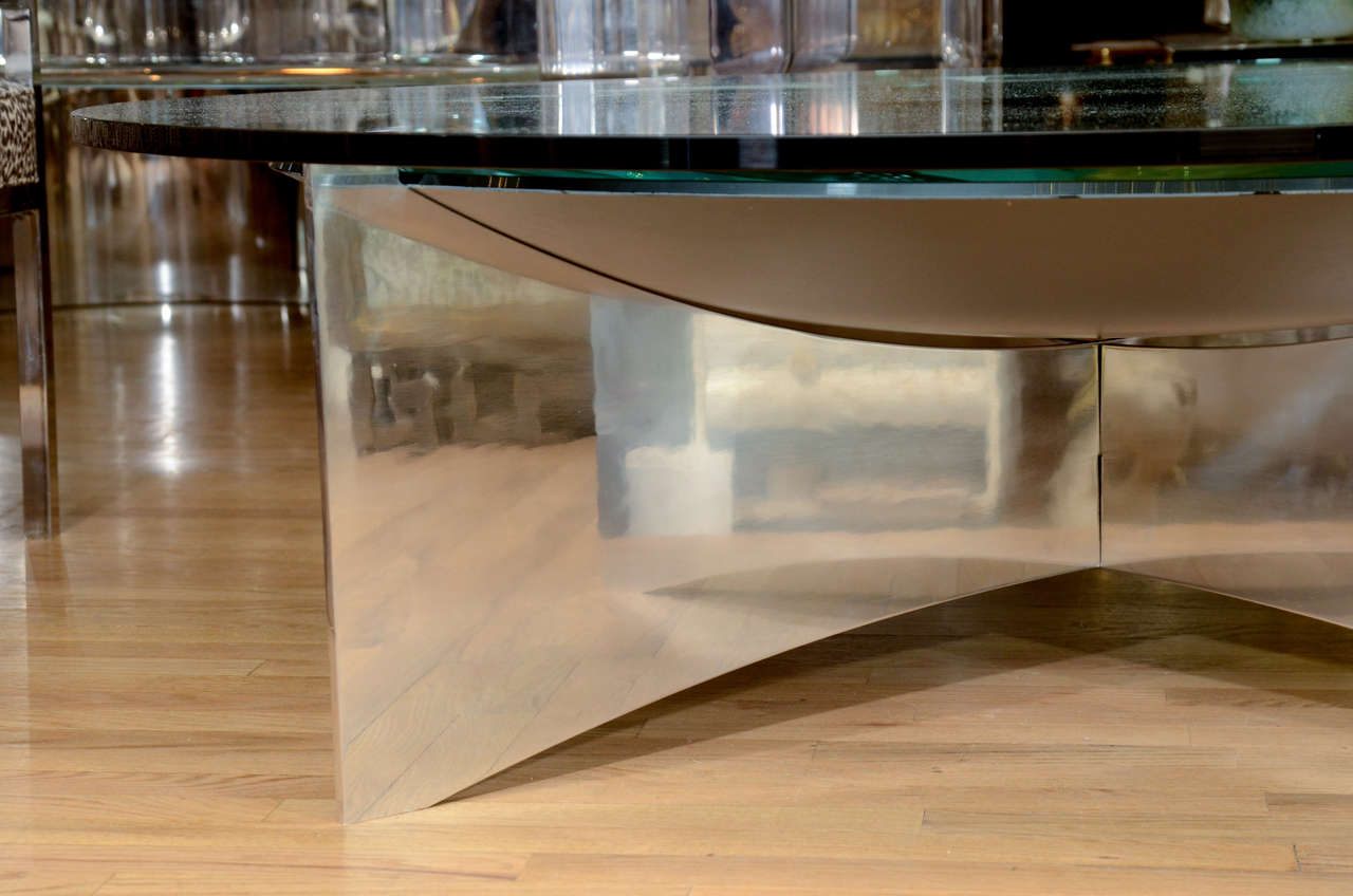 Unusual Concave Green Mercury Glass Coffee Table 5