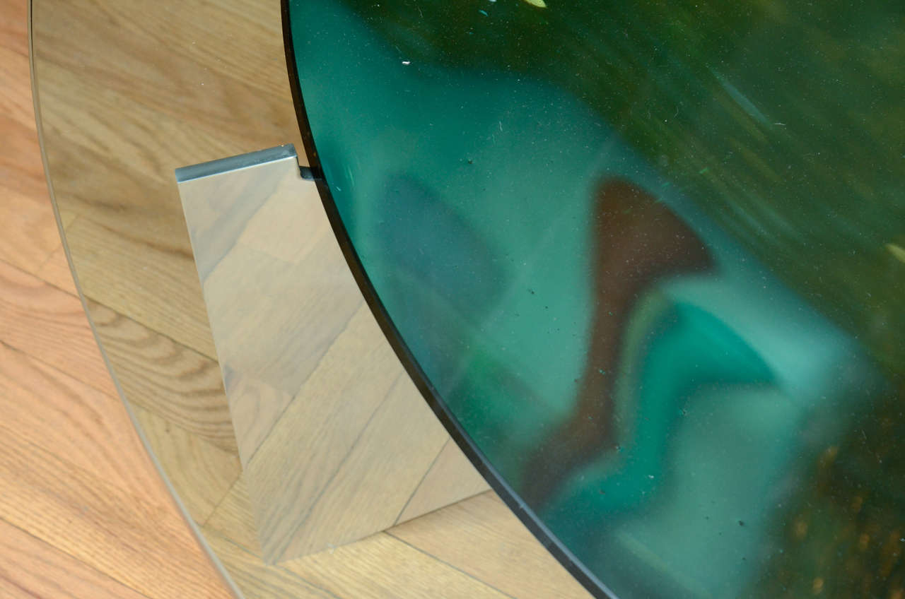 Unusual Concave Green Mercury Glass Coffee Table 6