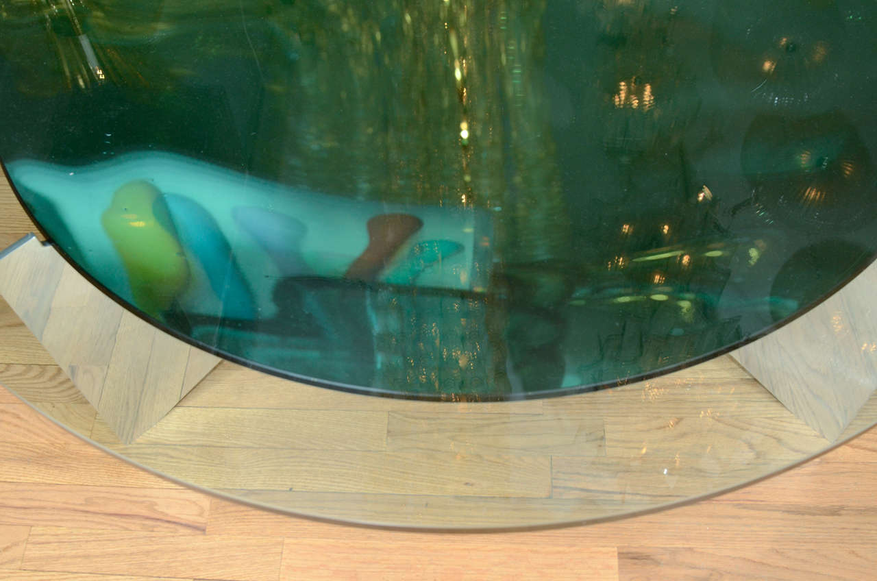 Unusual Concave Green Mercury Glass Coffee Table 8