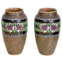Pair of Brown Stoneware Vase by Catteau for Boch