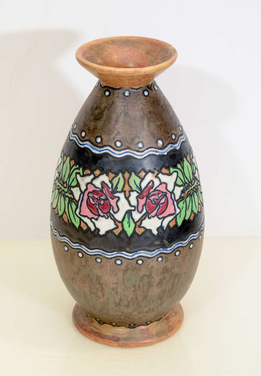 Boch Stoneware Vase In Excellent Condition For Sale In New York, NY