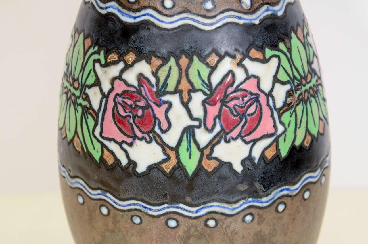Mid-20th Century Boch Stoneware Vase For Sale