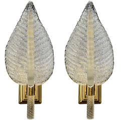 Venetian Glass One Light Leaf Sconces By Barovier and Toso