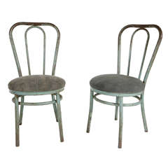 Pair of Bent Metal Thonet Inspired Dining Chairs