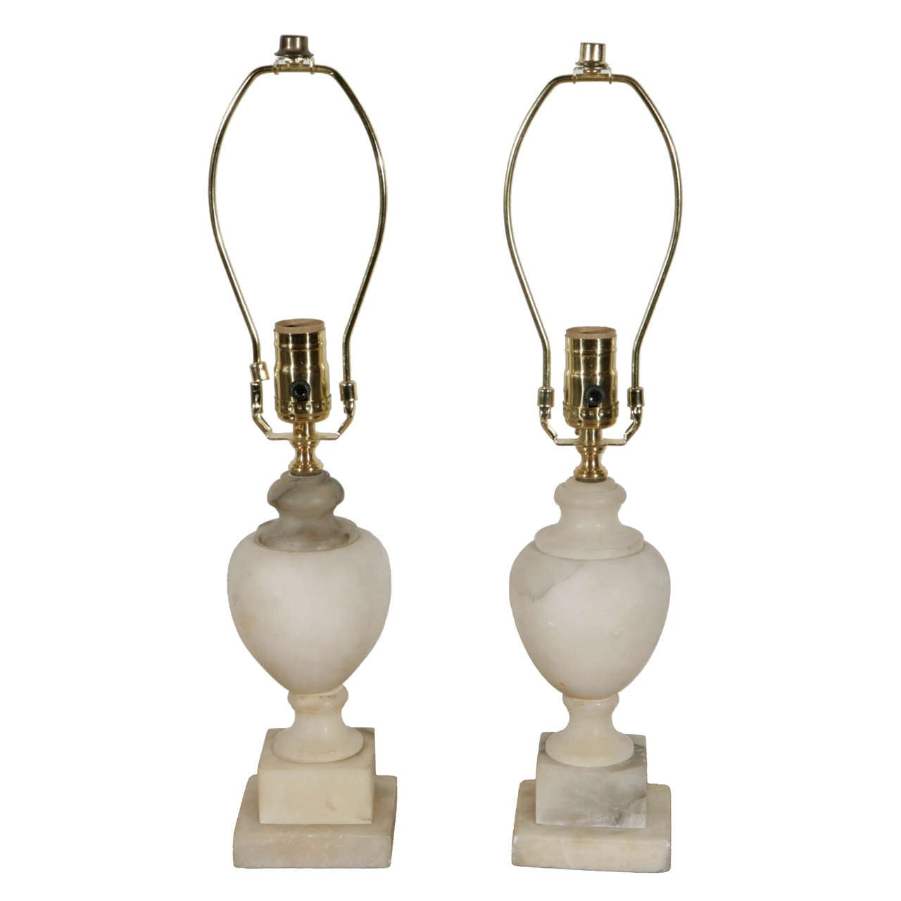 Pair of Small Alabaster Urn Accent Lamps 1