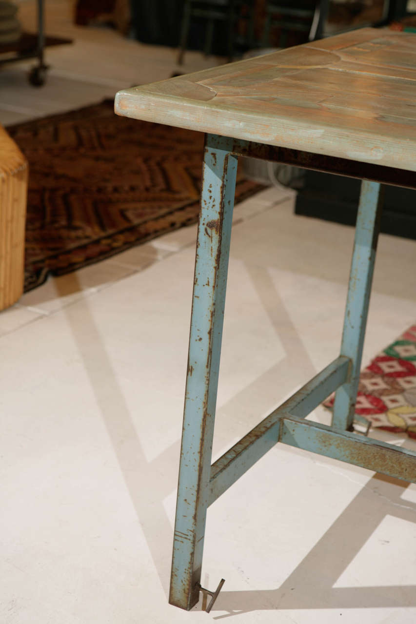 Industrial and Wood Inlay Adjustable Height Work Table at ...
