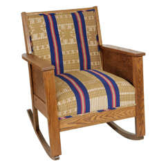 Late 19th Century American Craftsman Mission Style Oak Rocking Chair