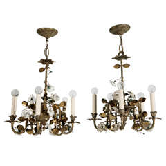 French Brass Six Arm Chandelier with Gilt Porcelain Flowers
