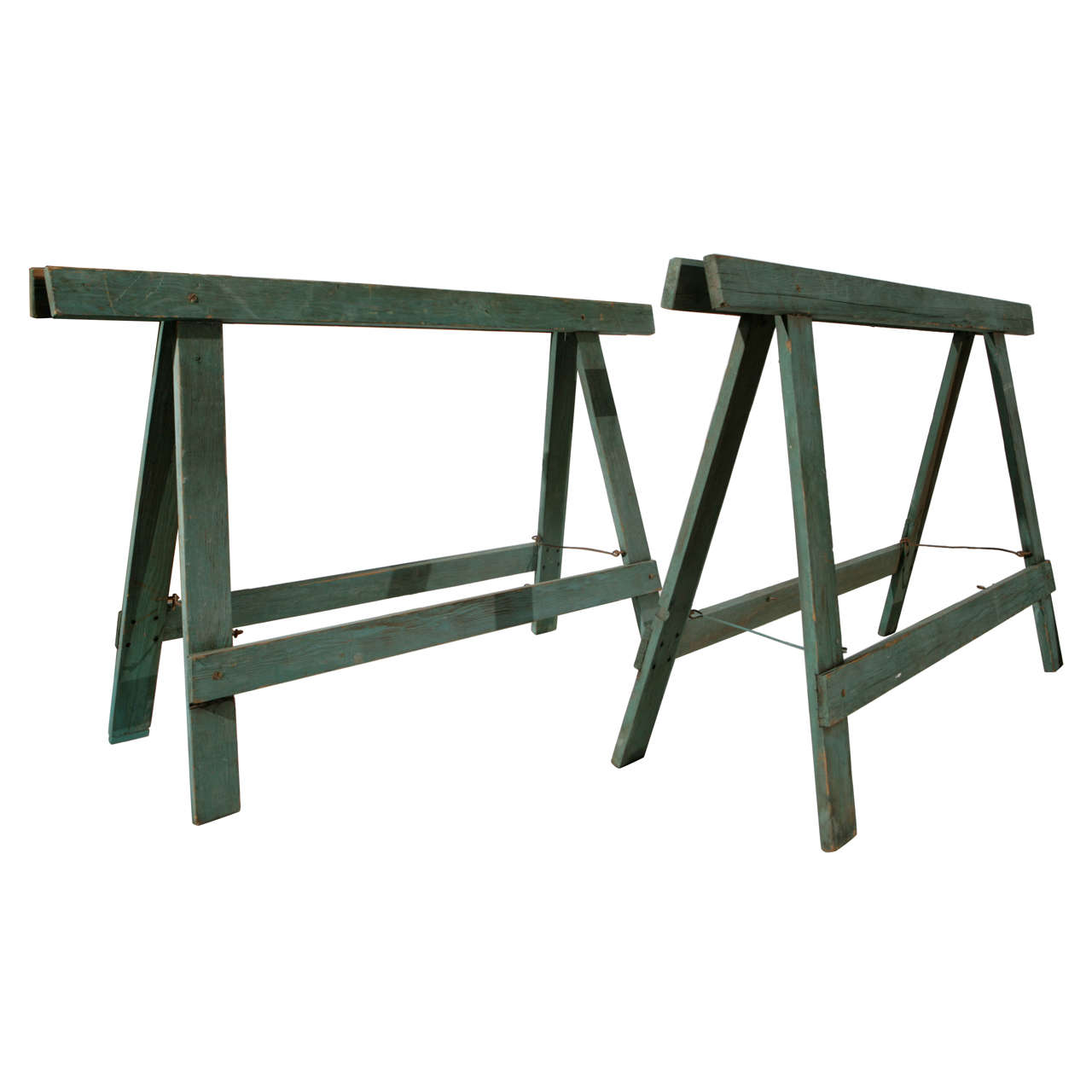 1940s Industrial Sawhorse Work Table Legs At 1stdibs