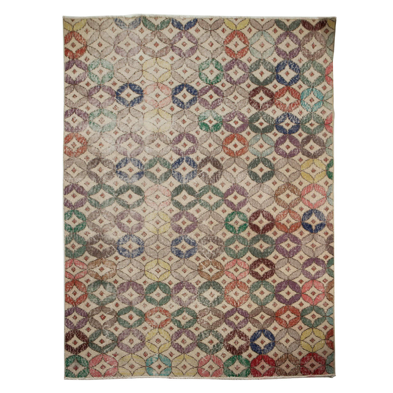 Hand Knotted Circular Pattern Turkish Scandinavian Style Rug 1