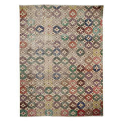 Hand Knotted Circular Pattern Turkish Scandinavian Style Rug