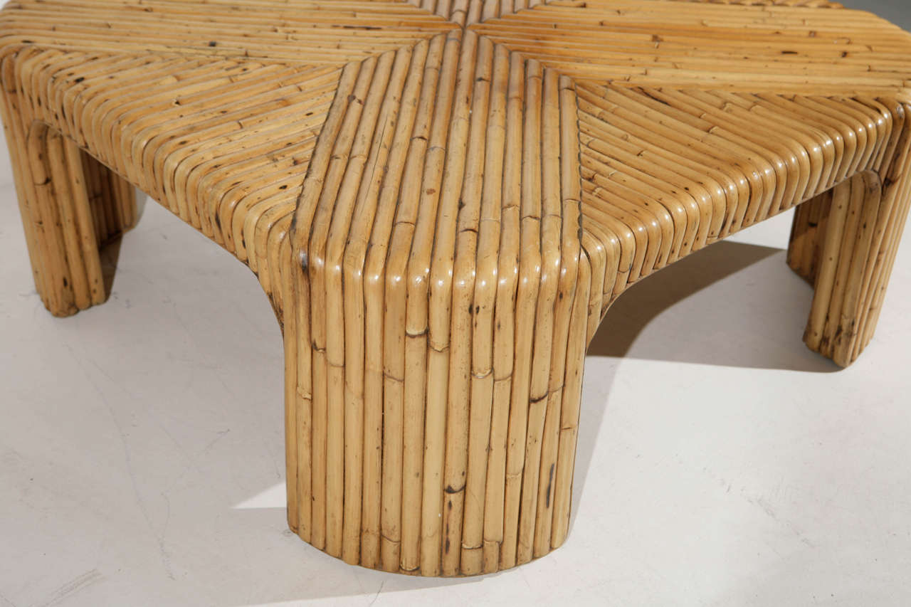 1970s modern bent bamboo inlay coffee table at 1stdibs for Bent bamboo furniture