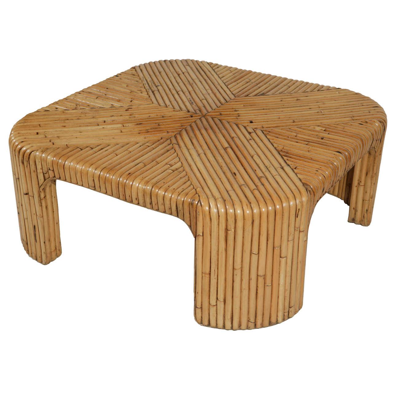 Modern Bamboo Coffee Table: 1970s Modern Bent Bamboo Inlay Coffee Table