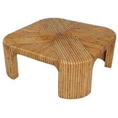 1970s Modern Bent Bamboo Inlay Coffee Table