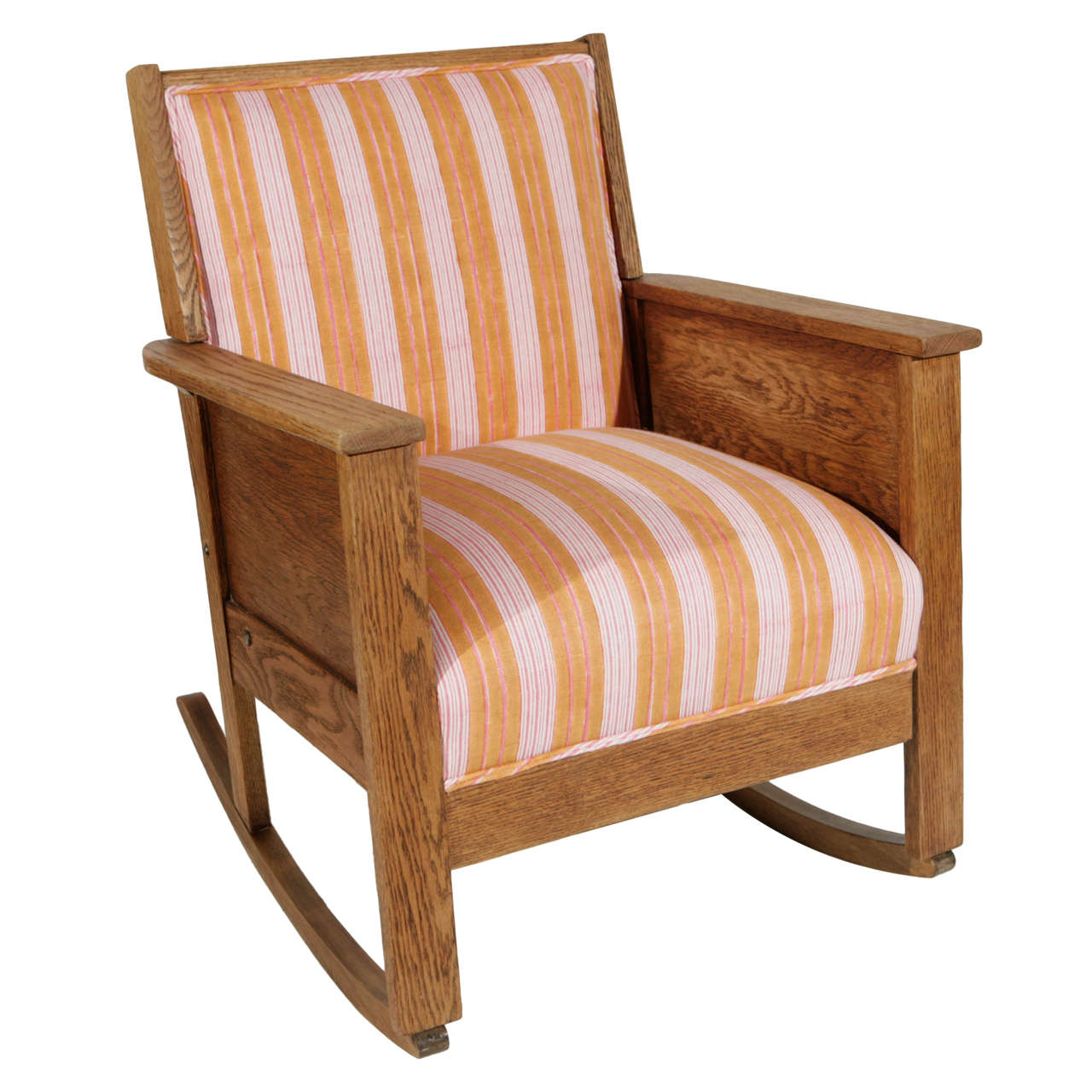 Superieur Late 19th Century American Craftsman Mission Style Oak Rocking Chair For  Sale