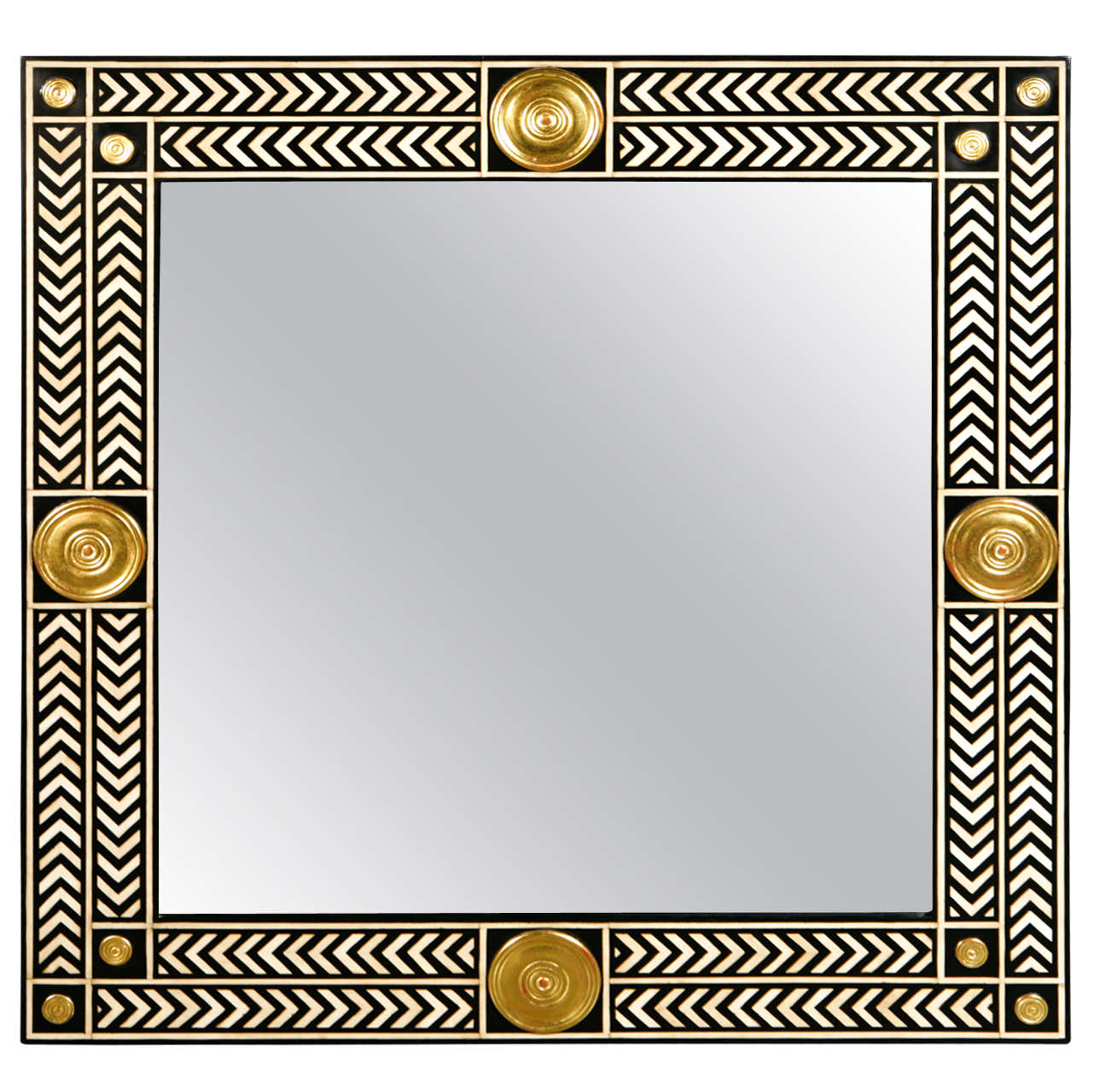 Paul Marra Hand Painted Herringbone Mirror at 1stdibs
