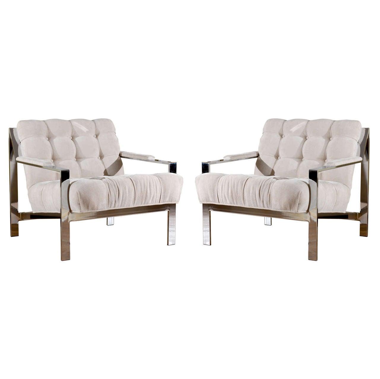 Restored Pair of Cy Mann Lounge Chairs in Cut Linen Velvet