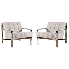 Restored Pair of Cy Mann Lounge Chairs in Cut Linen Velvet
