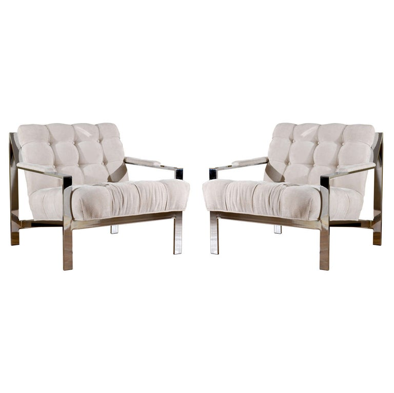 Stunning Restored Pair of Cy Mann Lounge Chairs, circa 1975 For Sale