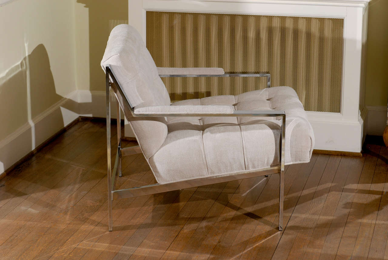 Chrome Stunning Restored Pair of Cy Mann Lounge Chairs, circa 1975 For Sale