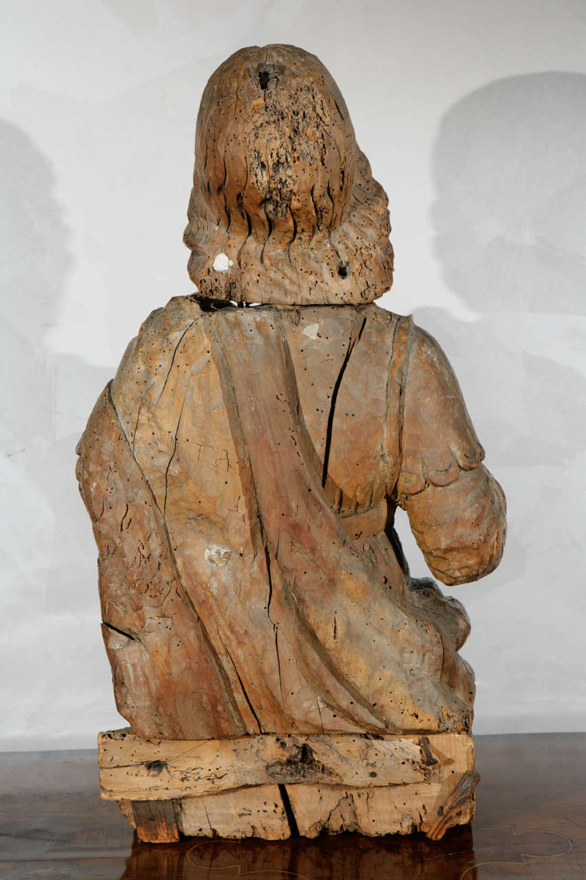 16th Century Italian Carved Walnut Statue Of Scholar For