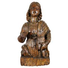 16th Century Italian Carved Walnut Statue of Scholar