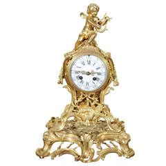 19th Century French Dore Bronze Clock with Cherub Motif