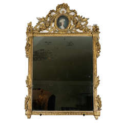 18th Century French Giltwood Mirror with Portrait of a Lady