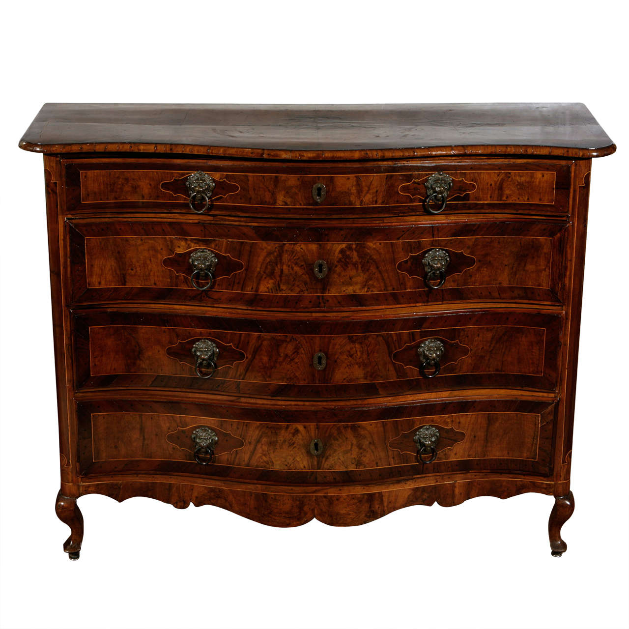 18th Century Italian Four Drawer Serpentine Front Commode