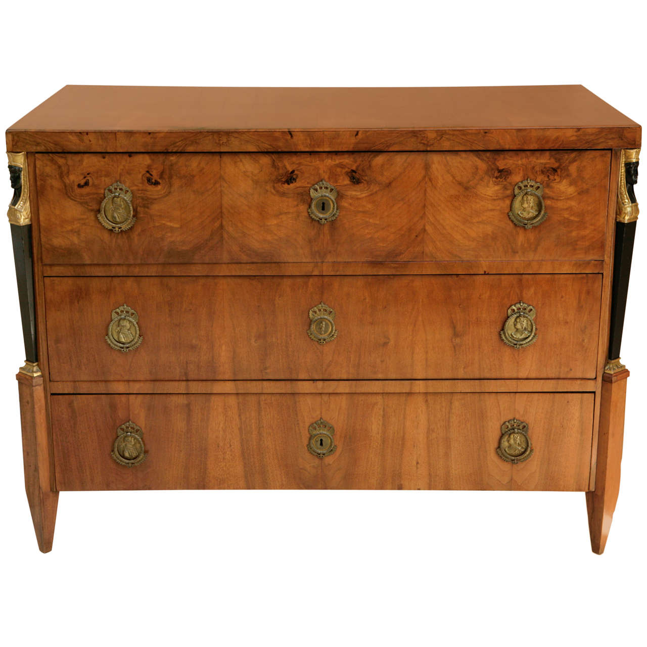 19th Century Italian Walnut Commode with Three Drawers