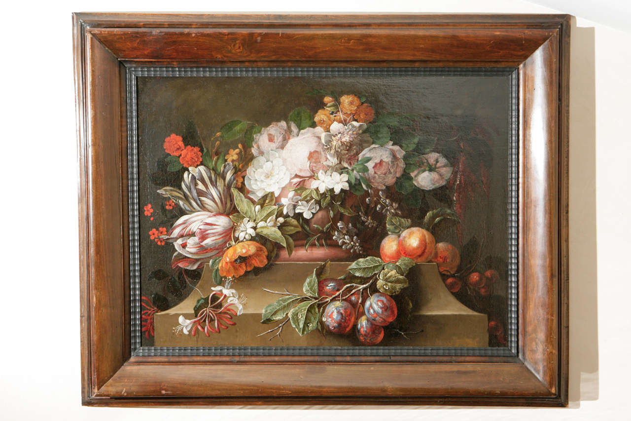18th c. Dutch Still Life Oil Painting in a 19th c. Frame.  The painting has been cleaned and re-lined.