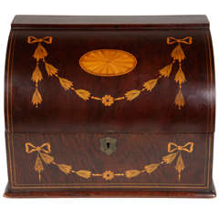 19th Century English Inlaid Letter Box Signed by Maker
