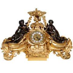 19th C. French Dore Bronze Clock with Maidens